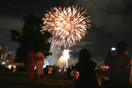 豊平川での花火大会