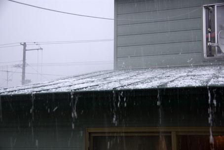 屋根にヒョウが当たりうるさい