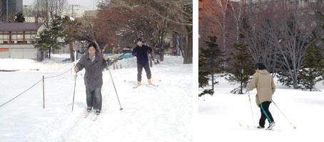 中島公園の貸しスキー