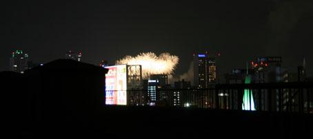 屋上から見える花火