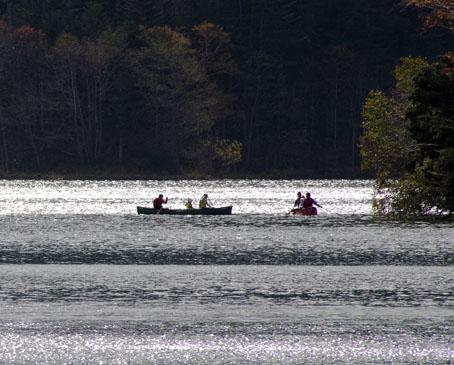 然別湖、手漕ぎボート
